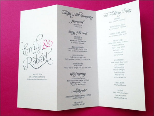 wedding program templates tri fold