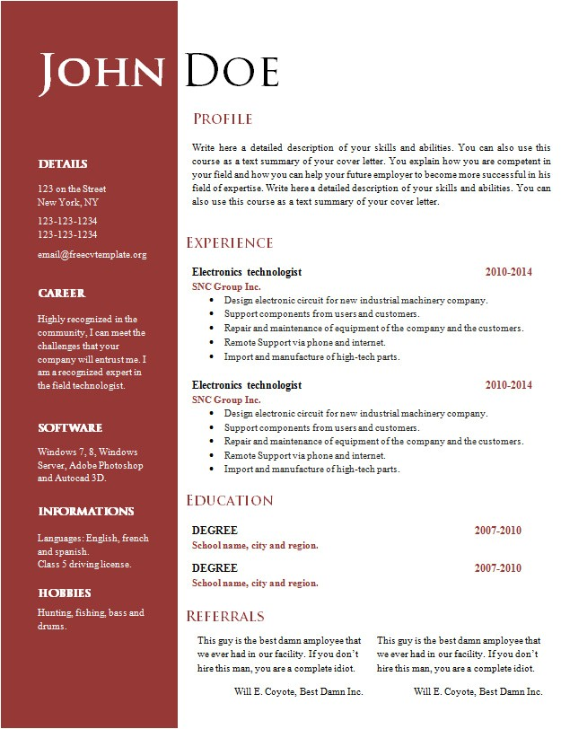 Free Word Resume Template Download Free Creative Resume Cv Template 547 to 553 Free Cv