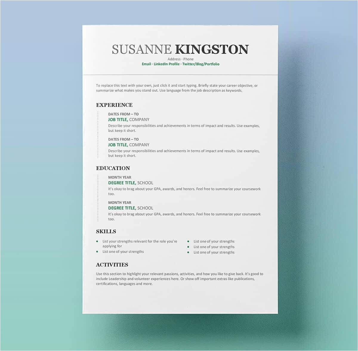 Free Word Resume Template Resume Templates for Word Free 15 Examples for Download