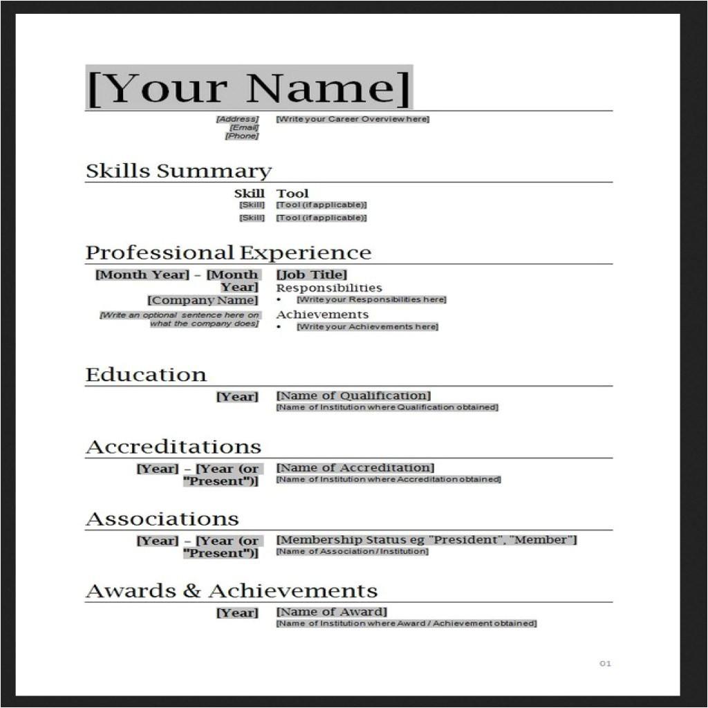 free resume templates word