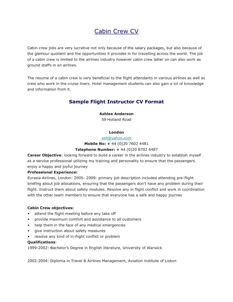 resume format cabin crew job