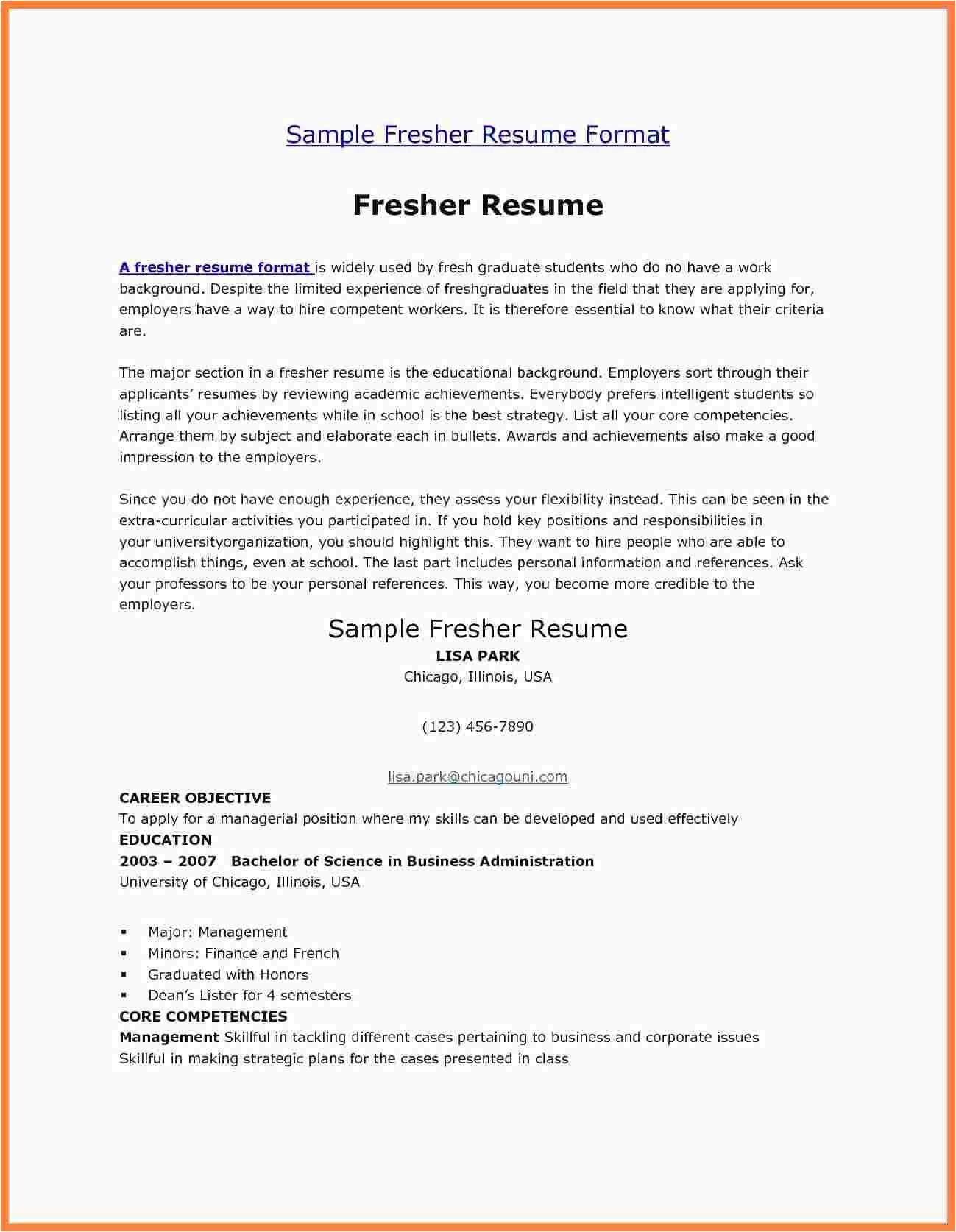12 fresher resume usa