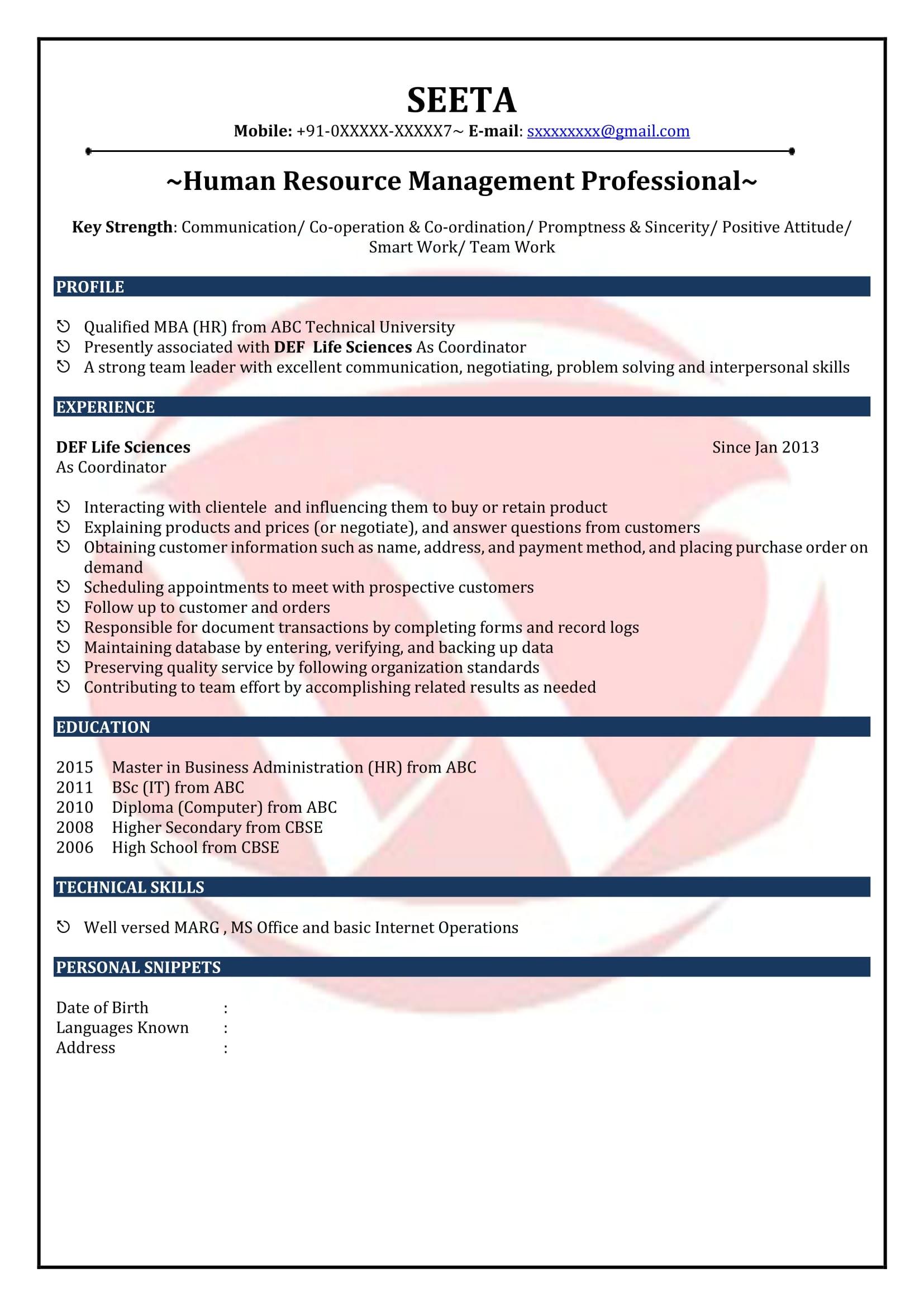 Fresher Resume Sample In Usa Mba Fresher Resume format Resume Template Easy Http