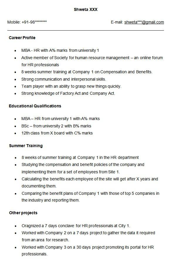 professional fresher resume template sample for hr good imagine