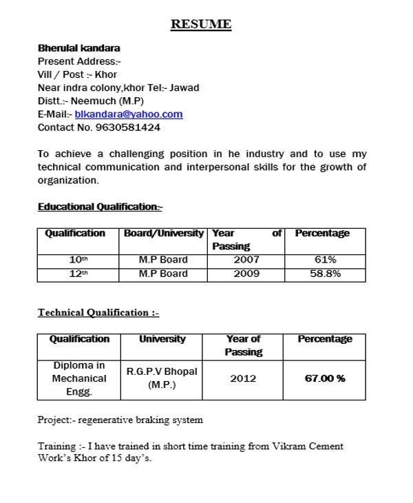 Fresher Resume Sample In Usa Resume format for Diploma Holders Best Resume Gallery