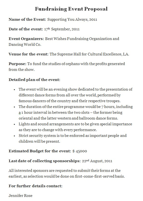 Fundraising Consultant Proposal Template event Proposal Template Cyberuse