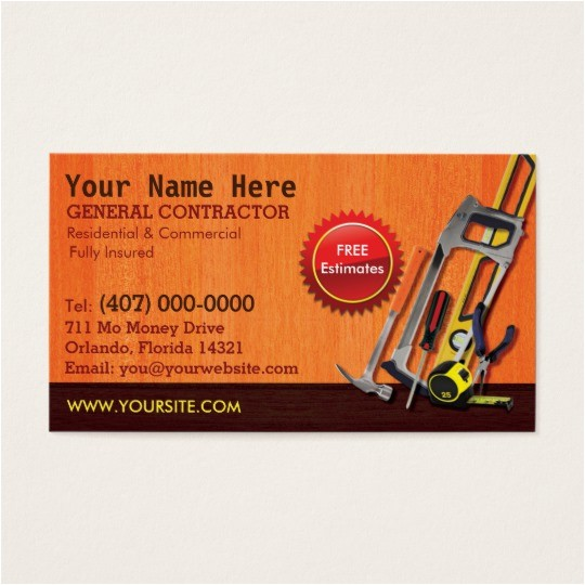 General Contractor Business Card Templates General Contractor Handyman Business Card Template