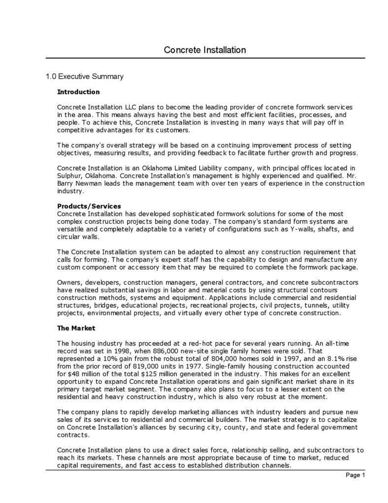 General Contractor Business Plan Template 12 Free Business Plan Template the Principled society