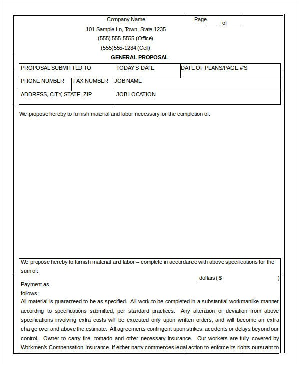 General Contractor Business Plan Template 14 Contractor Proposal Templates Free Sample Example