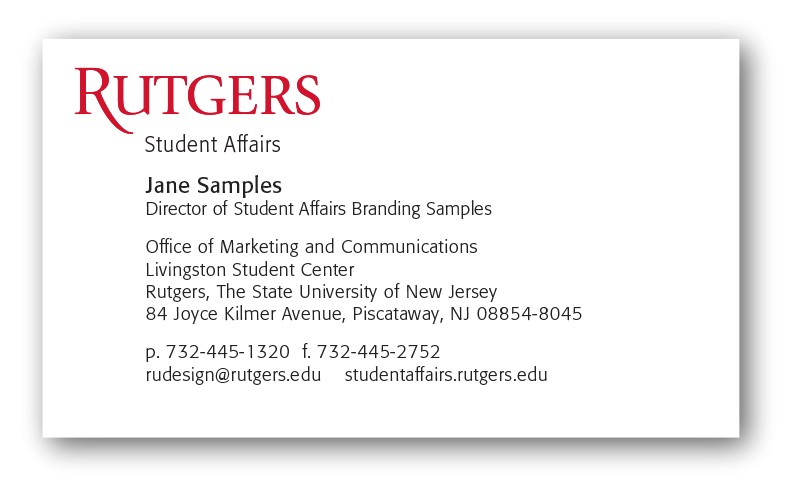 rutgers student business card template