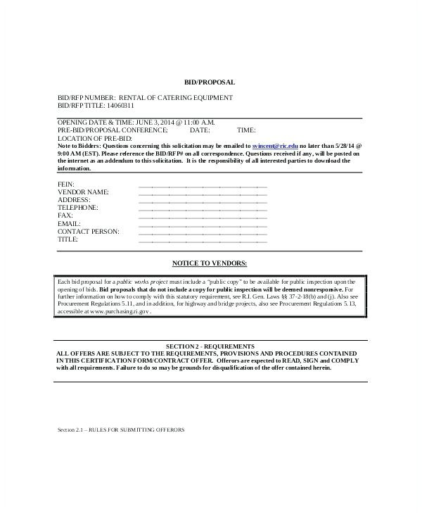 professional bid proposal template