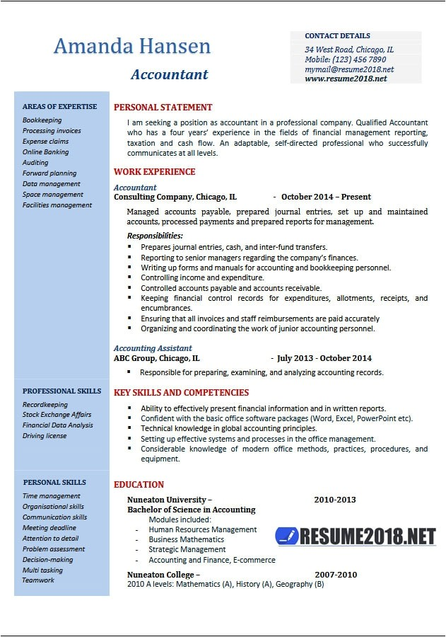 accountant resume examples 2018