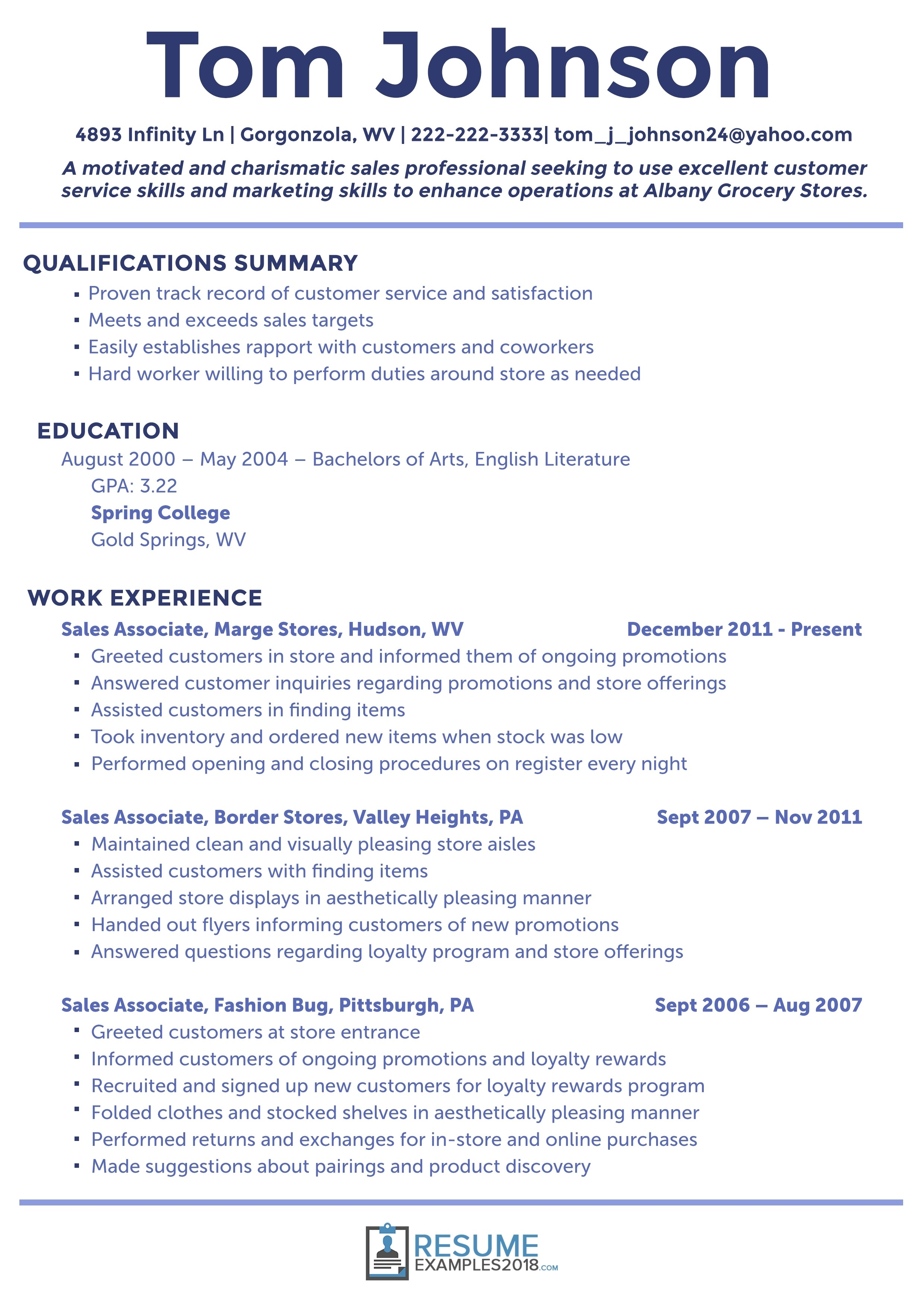 simple resume examples 2018