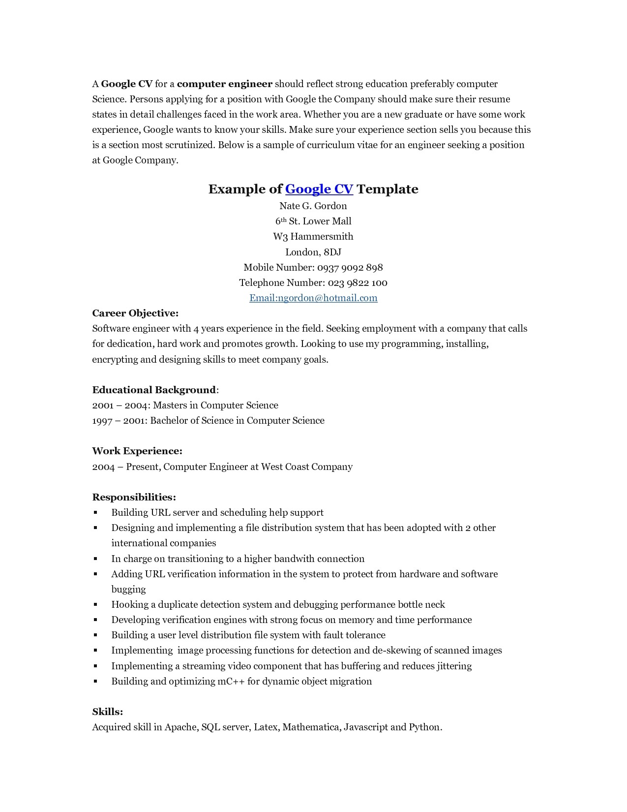 Google software Engineer Resume Sample Google Resume Examples Resume and Cover Letter Resume