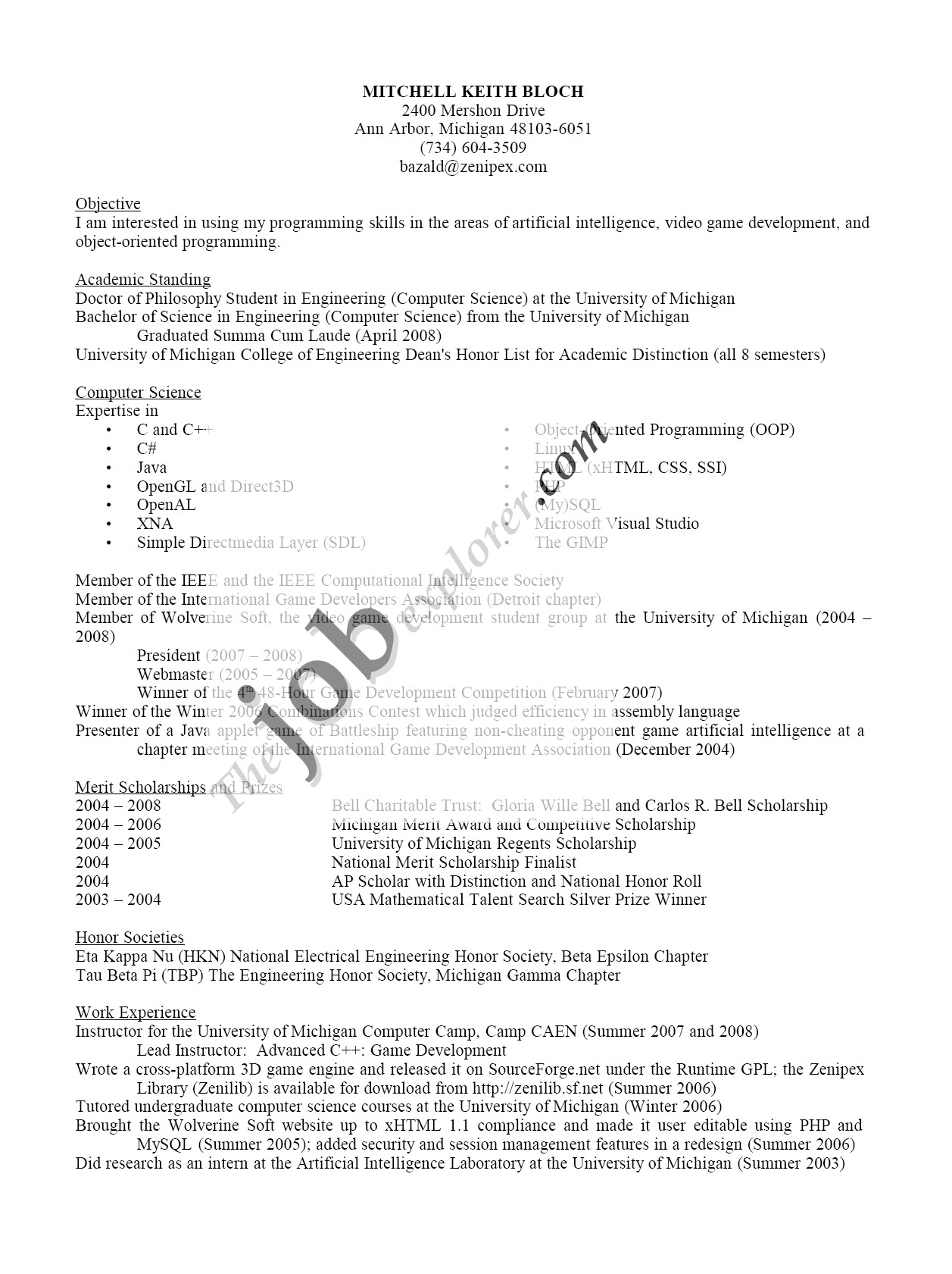 google software engineer cv template
