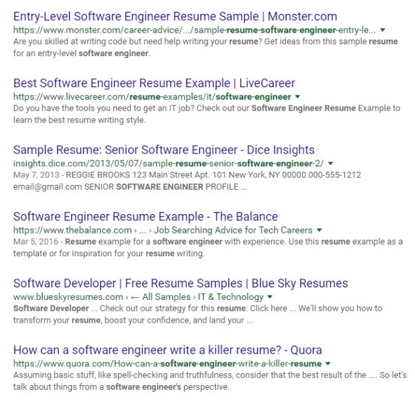 how google resume search operators