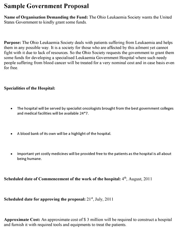 Government Contract Proposal Template Government Proposal Template