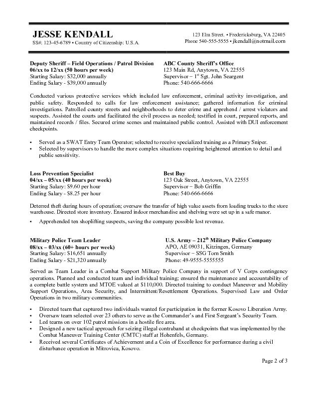 federal resume example 2016