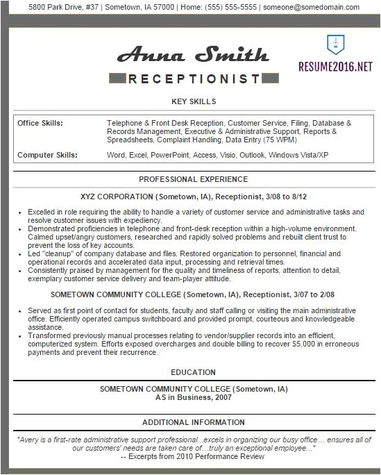 Great Resume Samples 2016 Receptionist Resume Examples 2016