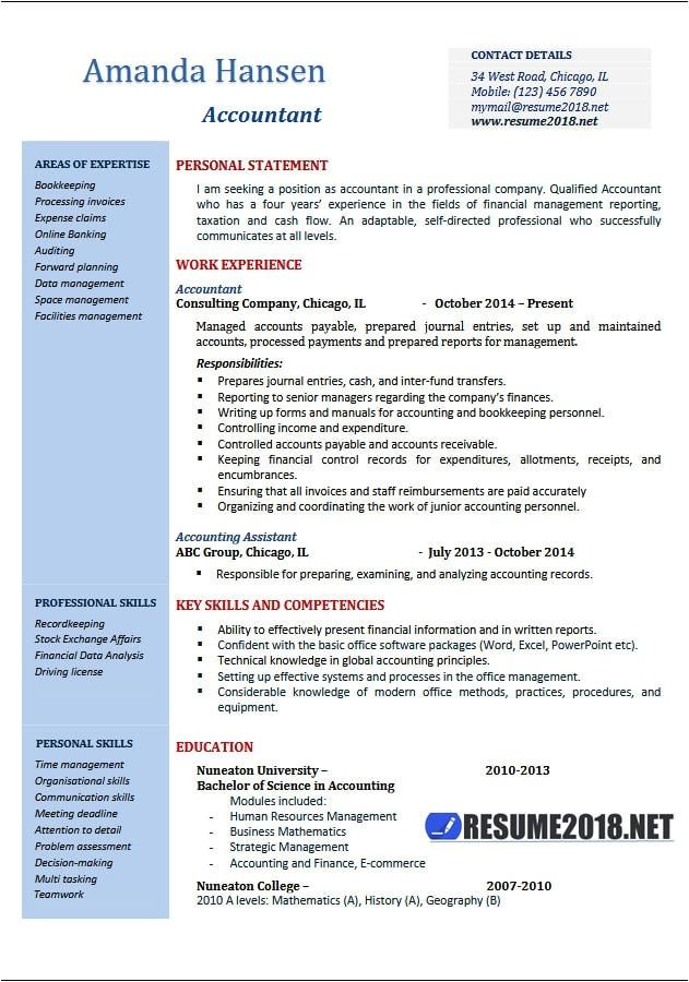accountant resume examples 2018