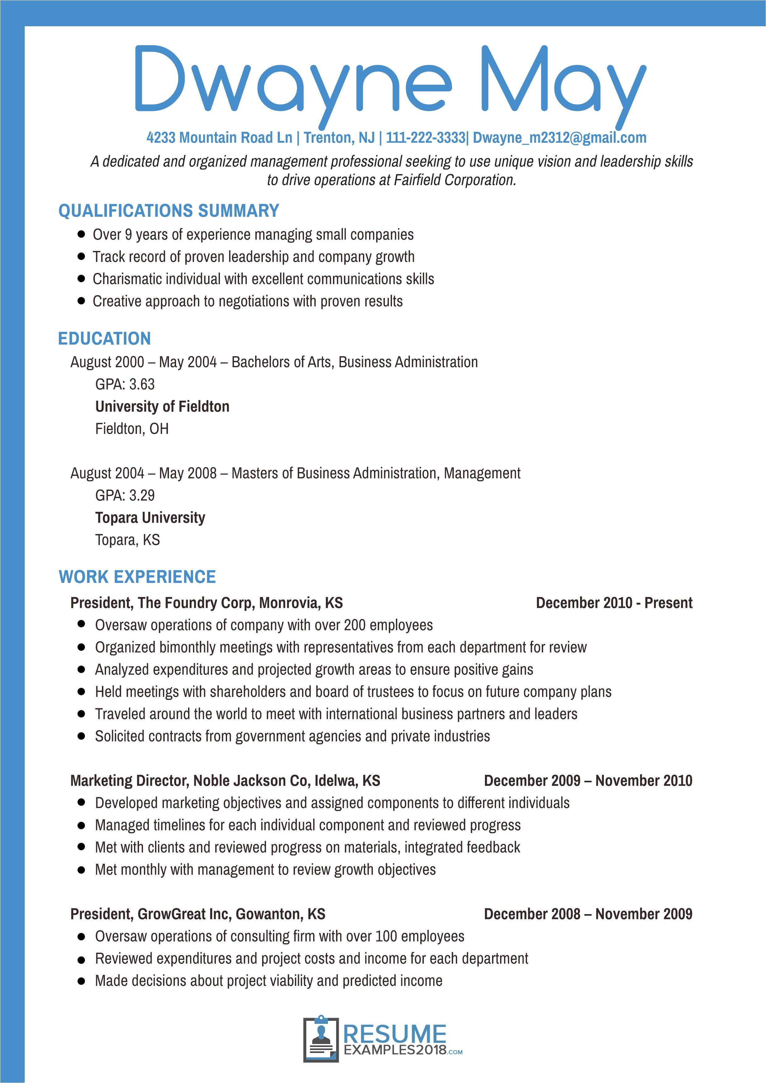 executive resume examples 2018
