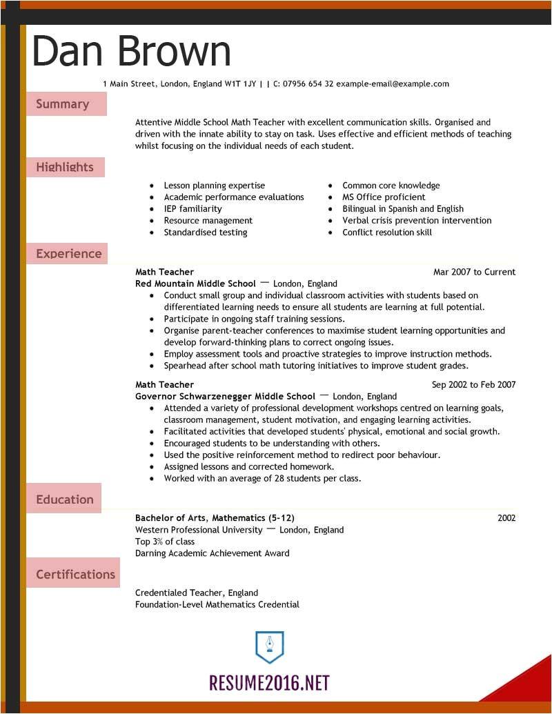 teacher resume 2016 for elementary school