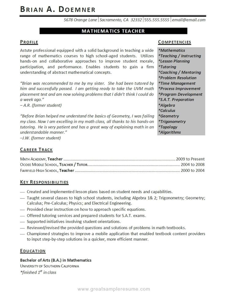 Great Teacher Resumes Samples Teaching Resume Objective Education Resume Template Word