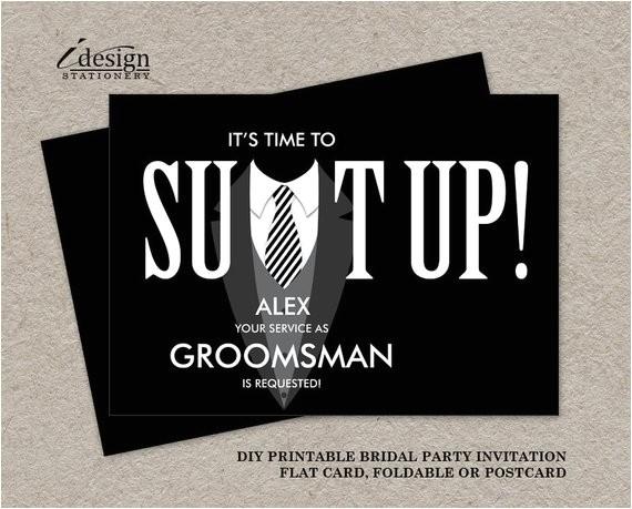 printable groomsman proposal card suit