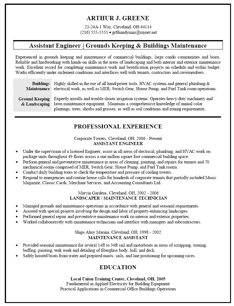 Grounds Maintenance Resume Samples Resume Sample for Facilities and Building Maintenance