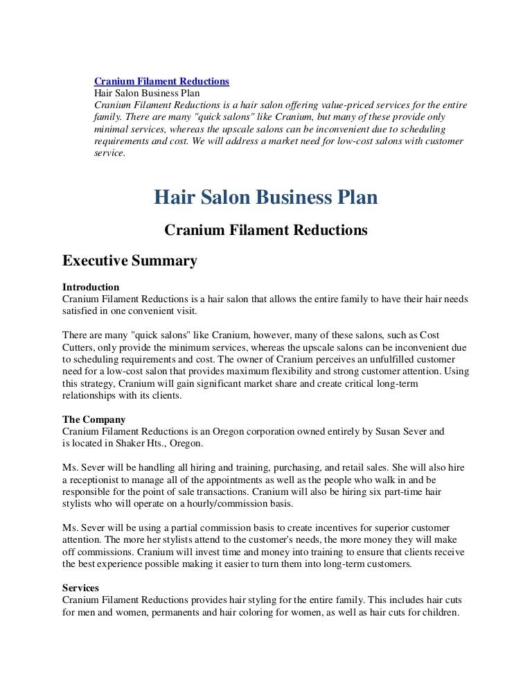 hair salon business plan sample 1914