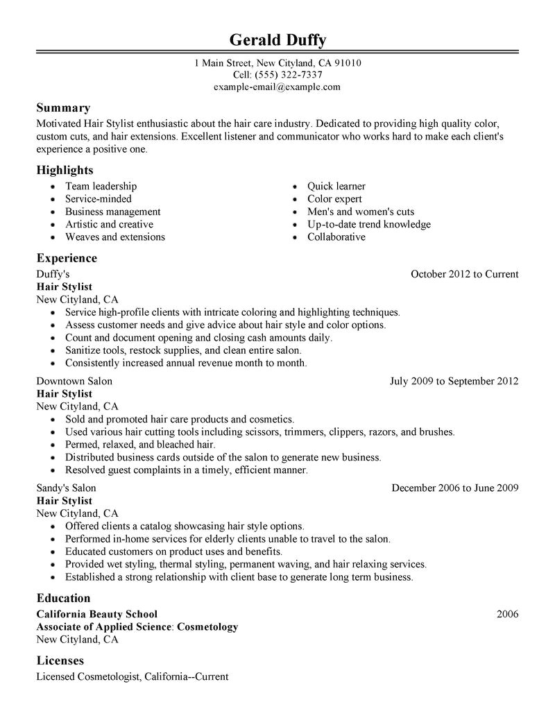 Hair Stylist Resume Templates Best Hair Stylist Resume Example Livecareer