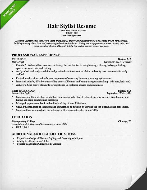 hair stylist resume sample