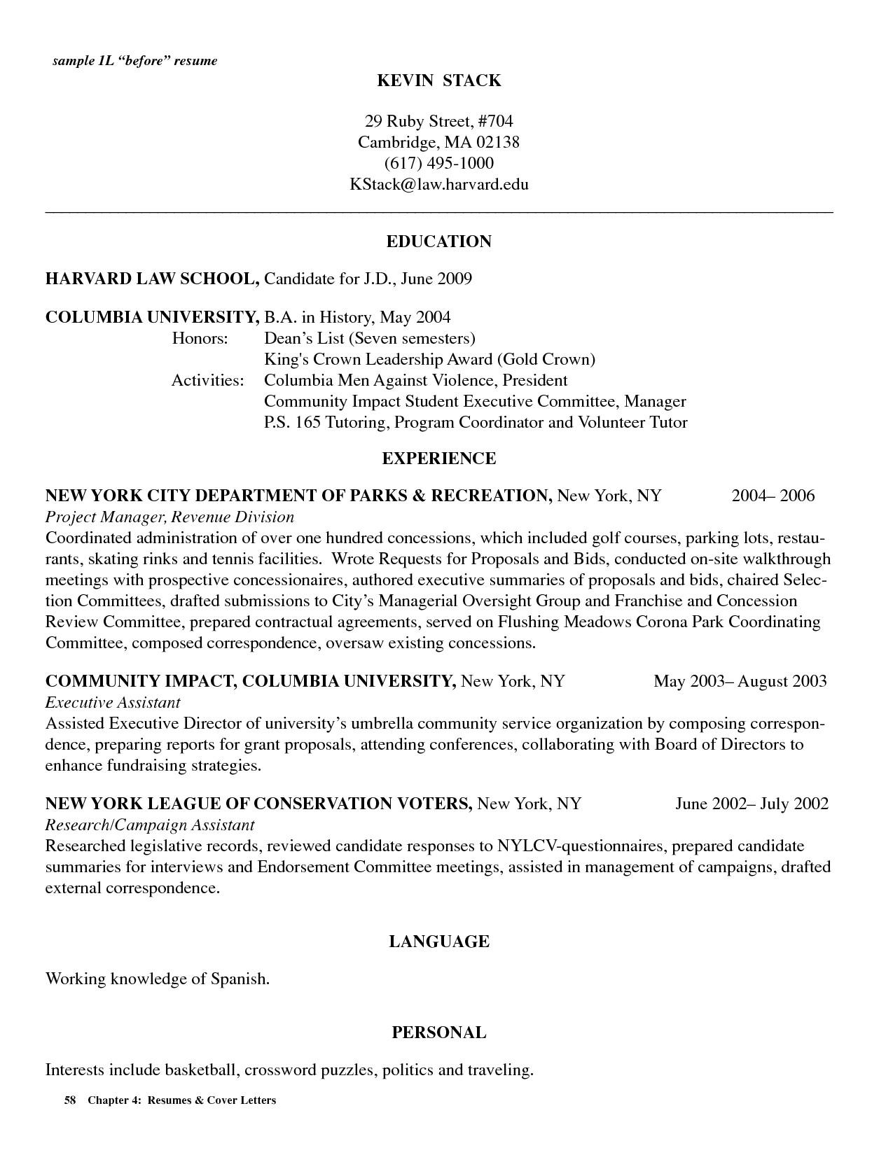 harvard law resume