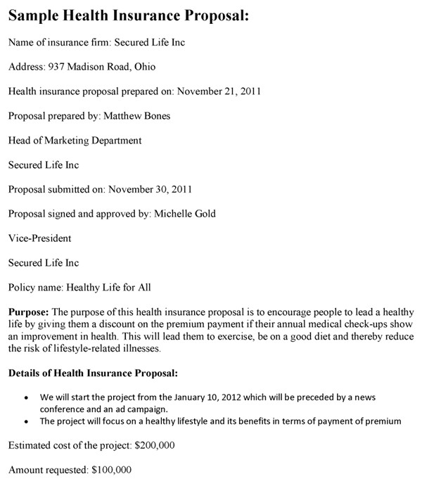 Health Insurance Proposal Template Health Insurance Proposal Template