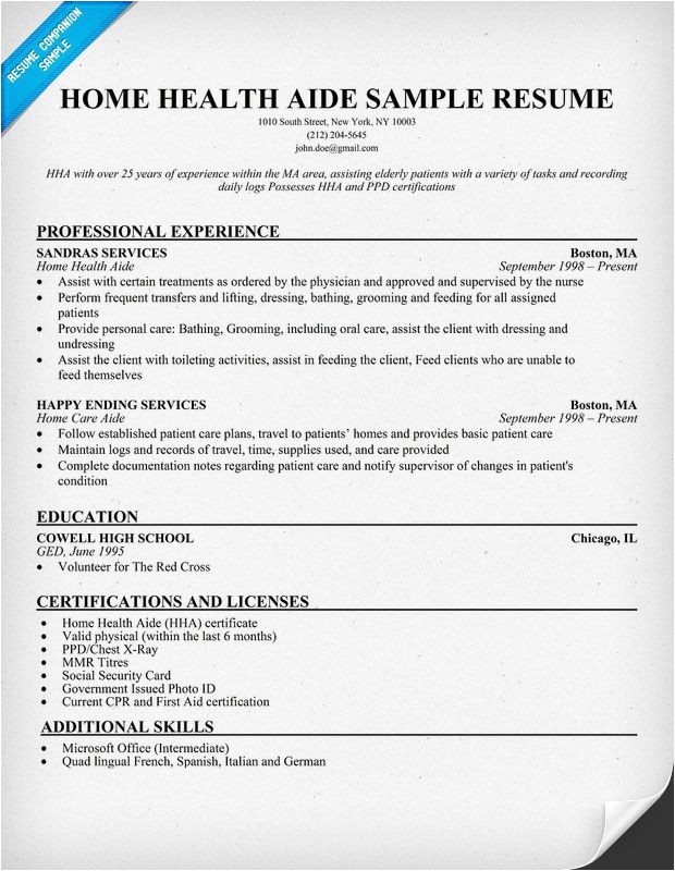 Hha Resume Samples Home Health Aide Resume Example Http Resumecompanion