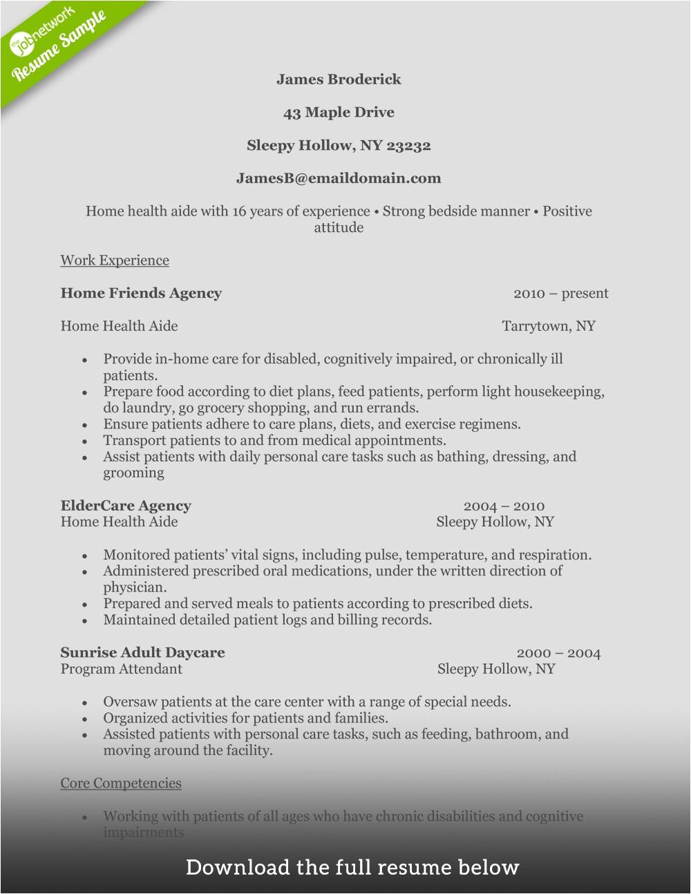 write perfect home health aide resume 102016