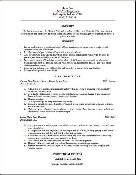 Hha Resume Samples Medical Home Services Resume Occupational Examples