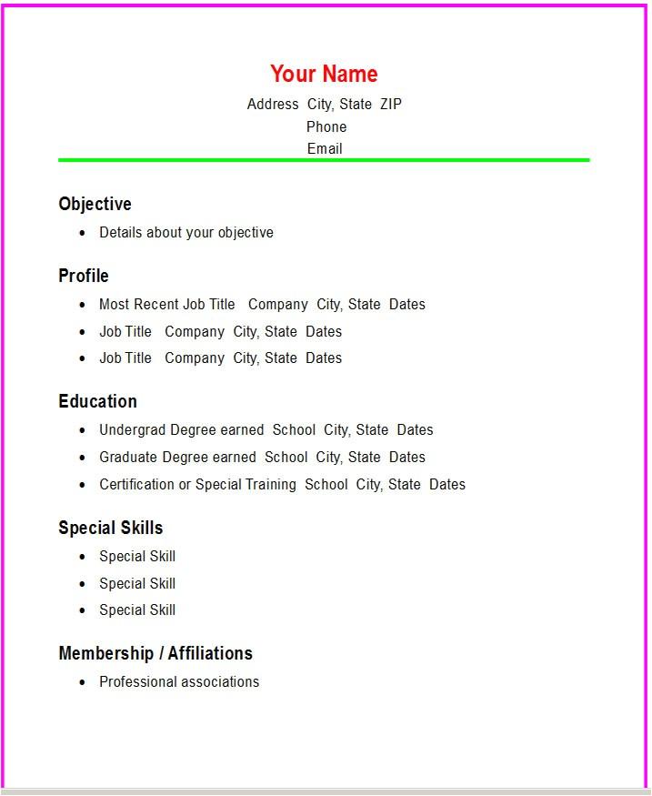Hloom Download Professional Resume Templates Basic Resume Templates Madinbelgrade