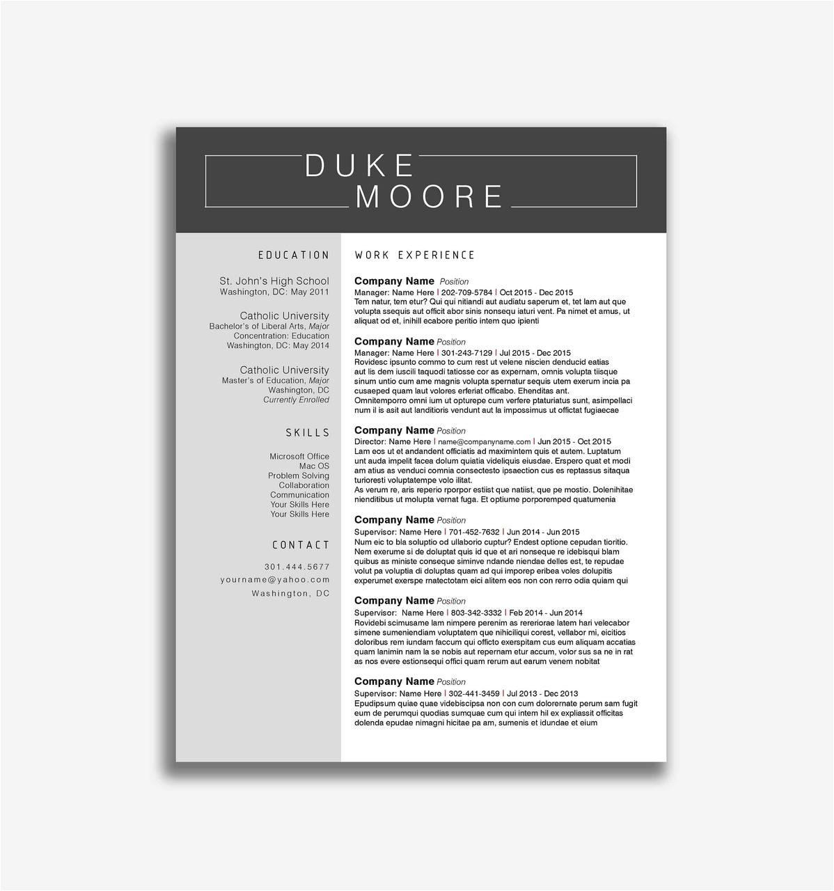 professional resume templates docx