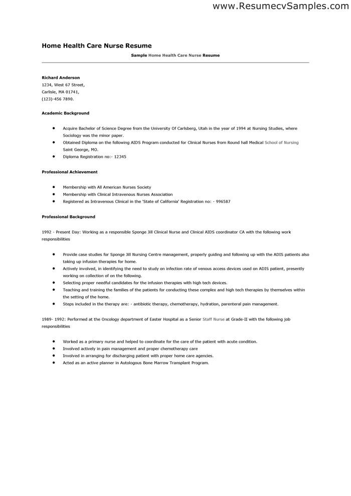 home health care job description for resume