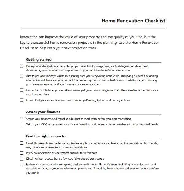 Home Renovations Business Plan Template 10 Renovation Checklist Templates to Download Sample