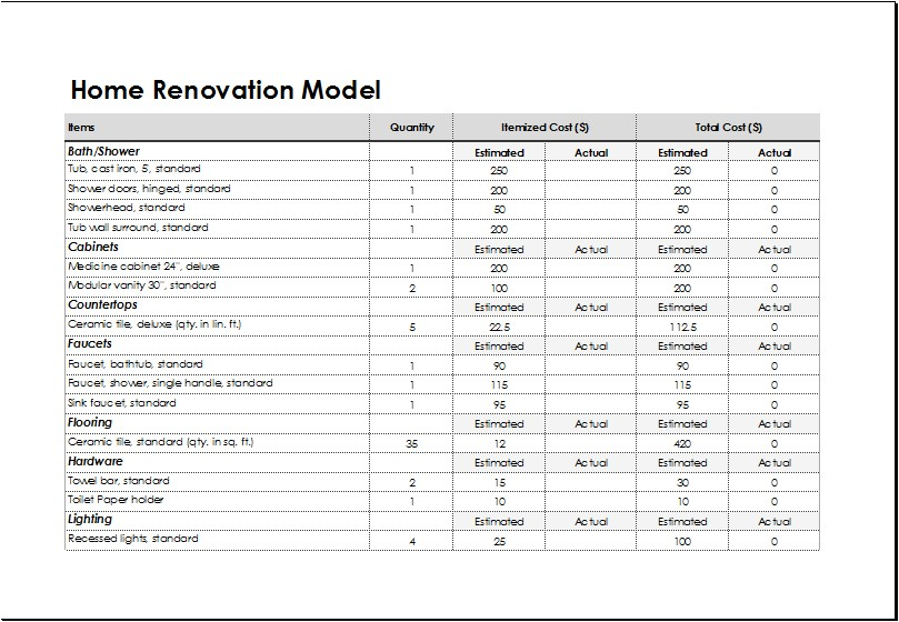 Home Renovations Business Plan Template Home Renovation Model Template for Excel Excel Templates