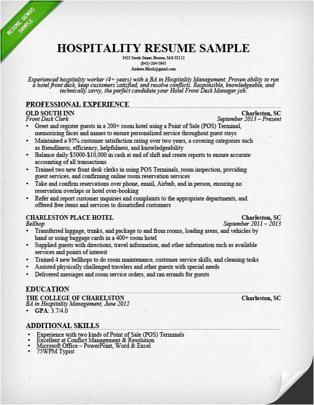 Hospitality Resume Templates Hospitality Resume Sample Writing Guide Resume Genius
