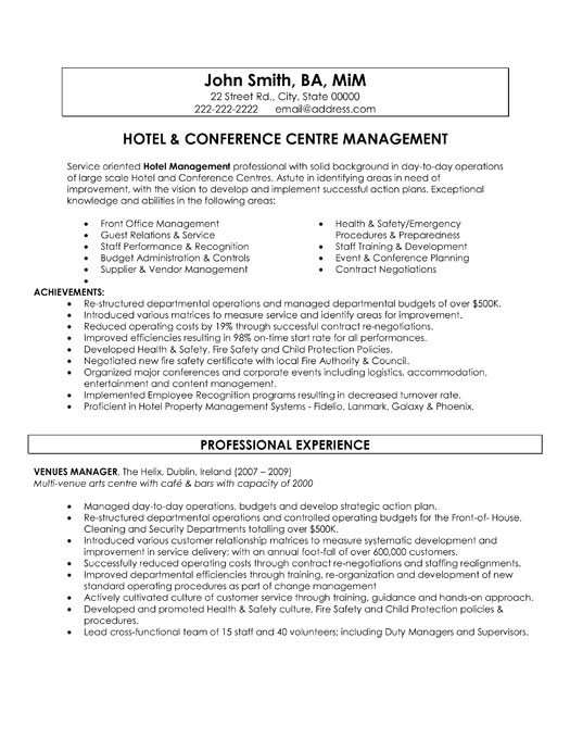 hospitality resume samples