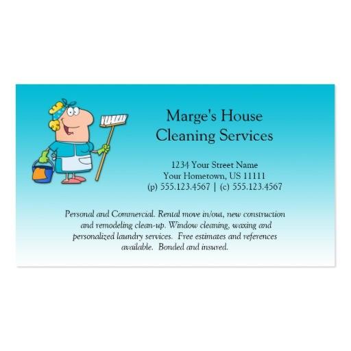 teal cartoon maid house cleaning customer loyalty business card 240995822722902961