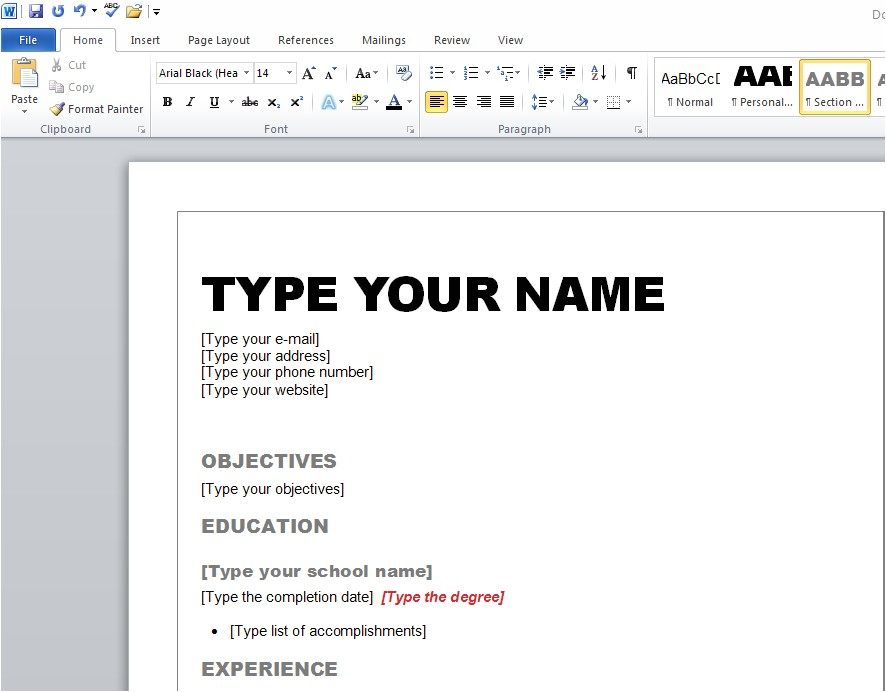 how to create a winning resume in microsoft word 2010