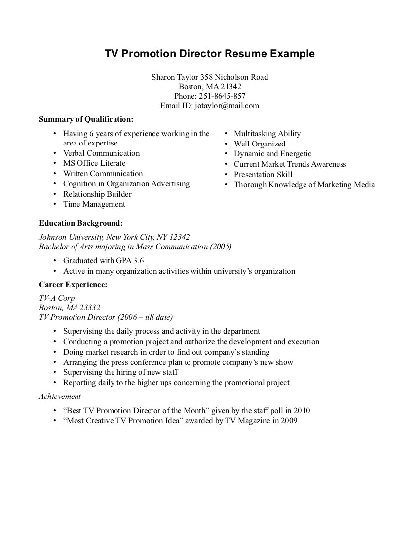 promotion on resume
