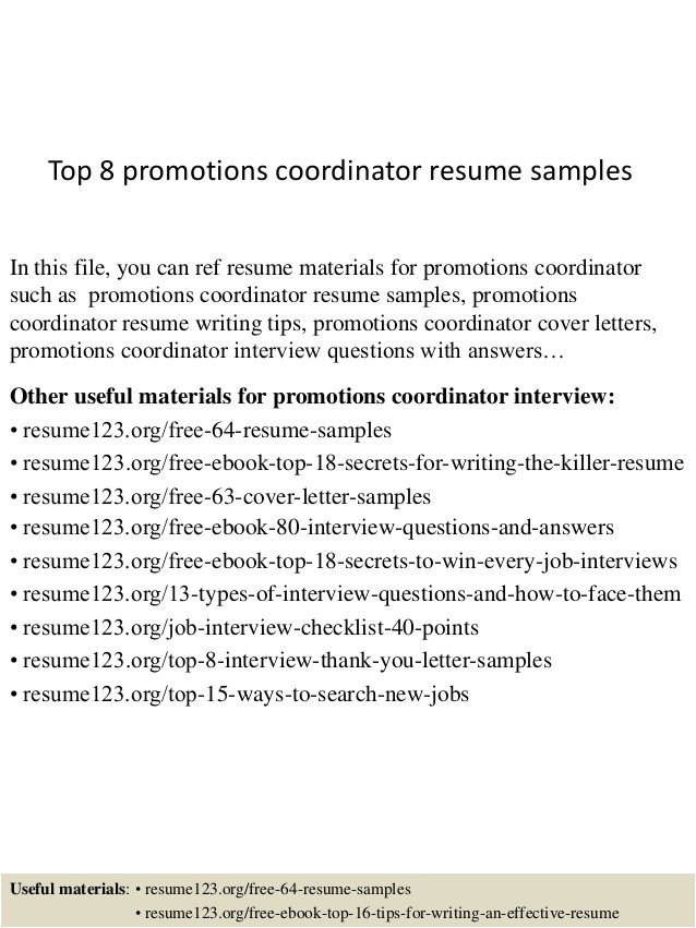 How to List Promotions On A Resume Sample top 8 Promotions Coordinator Resume Samples