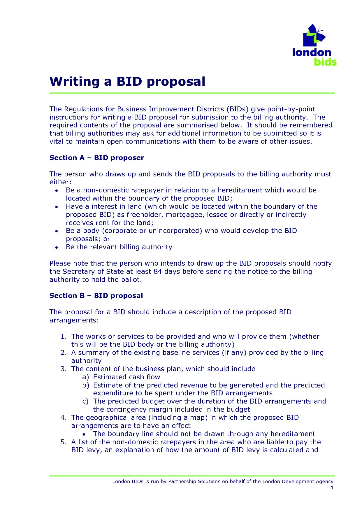 5 sample bid proposal