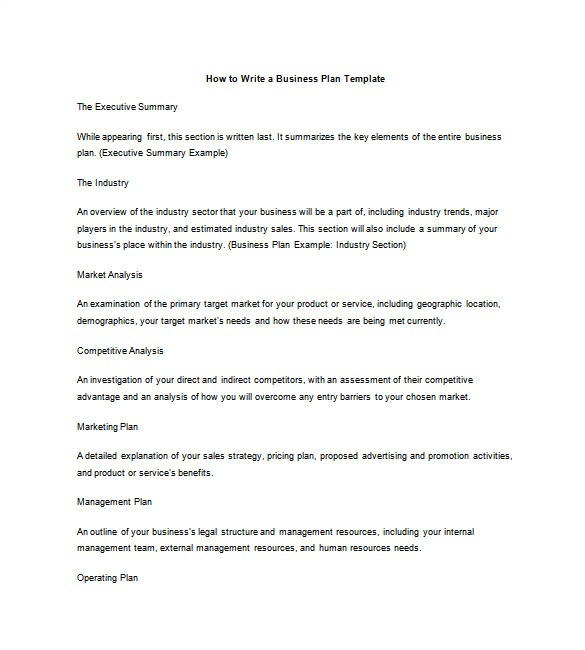 How to Write A Good Business Plan Template Business Plan Outline Template 17 Free Word Excel Pdf